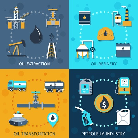 oil refinery: Oil industry flat icons set with extraction refinery transportation petroleum isolated vector illustration Illustration
