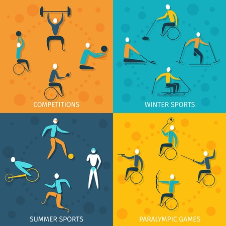 disabled sports: Disabled sports design concept set with winter and summer competition paralympic games flat icons isolated vector illustration Illustration