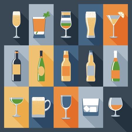 bebidas frias: Beba iconos decorativos conjunto plana con alcohol en botellas y vasos aislados ilustraci�n vectorial
