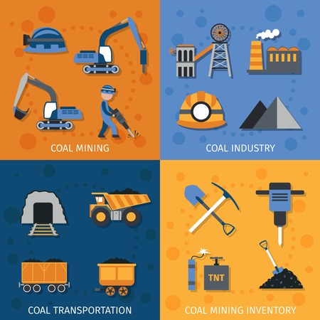 carbone: Industria carboniera concetto scenografia con le icone piane trasporto inventario mineraria isolato illustrazione vettoriale Vettoriali