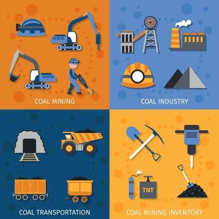 camion minero: La industria del carb�n concepto de dise�o conjunto con los iconos planos miner�a inventario transporte aislado ilustraci�n vectorial