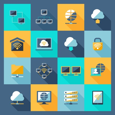 security icon: Network hosting data service web connection icons flat set isolated vector illustration Illustration