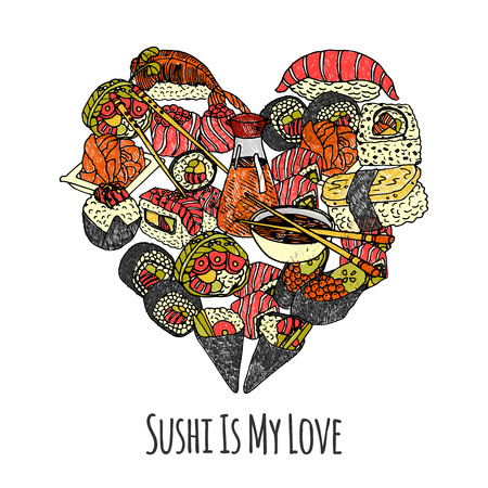sushi roll: Asia food set with sushi and rolls in heart shape vector illustration