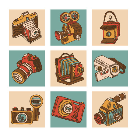 camera: Retro camera mechanical photo apparatus sketch icons set isolated vector illustration