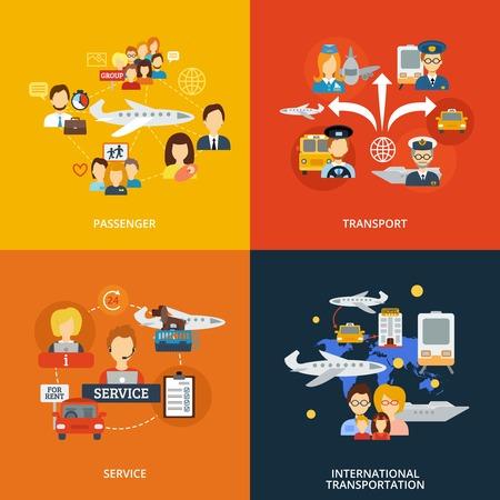 concept de transport de passagers défini avec icônes plats de service de transport international isolé illustration vectorielle Vecteurs