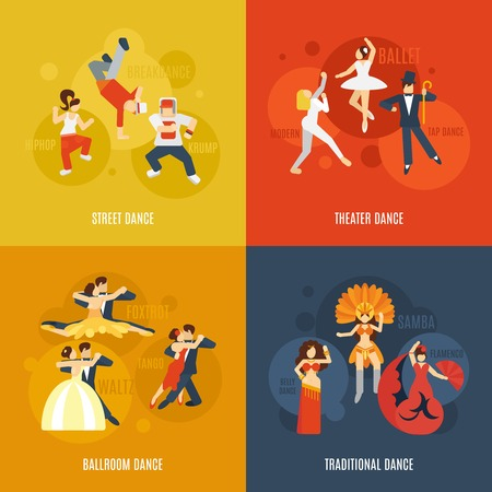 theater man: Dancing style design concept set with street theater ballroom traditional dance flat icons isolated vector illustration