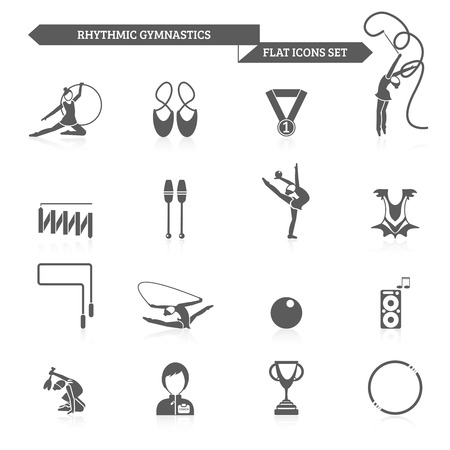 rhythmic gymnastic: Rhythmic gymnastics and acrobatic fitness exercises black icons set isolated vector illustration