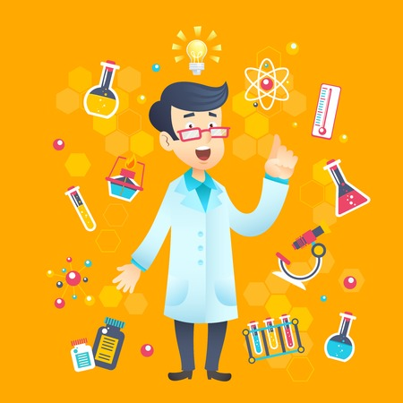 Chemist scientist character with scientific and education test equipment vector illustration Illustration