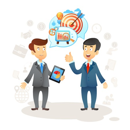 financial adviser: Business social chat concept with two businessman and speech bubbles vector illustration