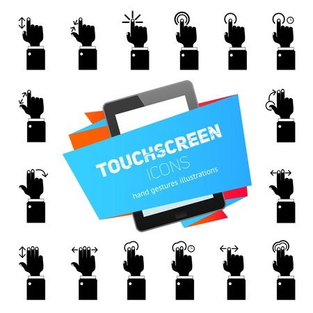Human hands touch gestures icons black with tablet touchscreen device vector illustration Vector