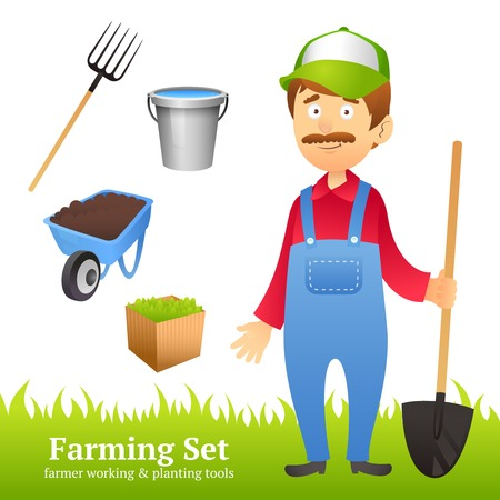 Farmer man avatar with farming working and planting tools set vector illustration
