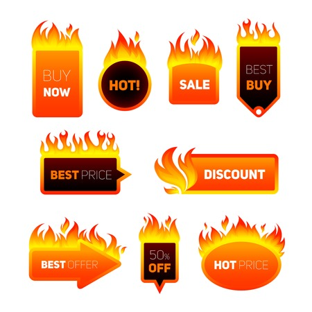 Hot price fire flame sale promotion discount badges set isolated vector illustration Ilustracja