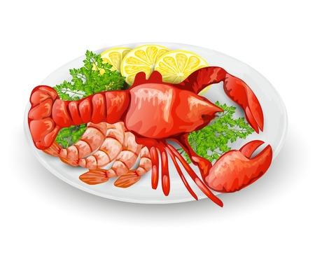 lobster: Lobster on plate with lemon shrimps and parsley seafood restaurant menu concept vector illustration