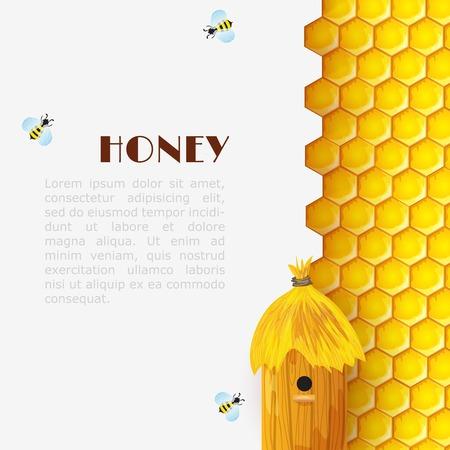 六角形ハニカム ビーハイブとマルハナバチの昆虫ベクトル イラスト背景を蜂蜜します。