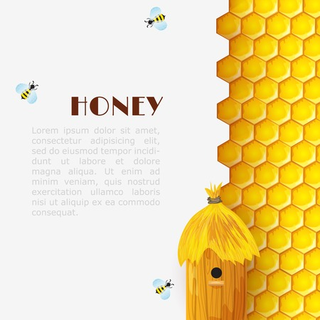 Honey background with hexagon honeycomb beehive and bumblebees insects vector illustration Ilustração