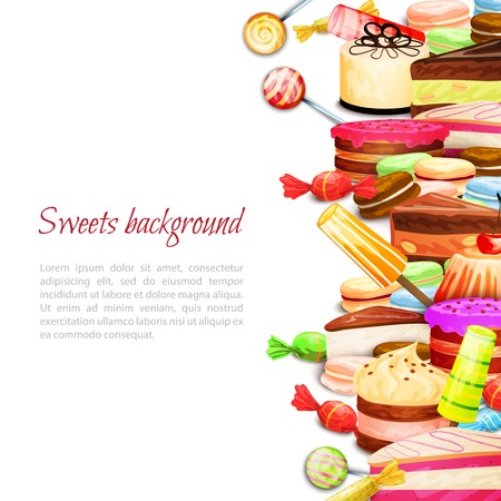Sweet food background with layered cake ice cream macaron cookies vector illustration Illustration