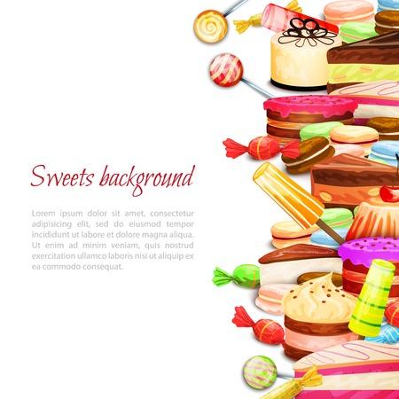 Sweet food background with layered cake ice cream macaron cookies vector illustration 向量圖像