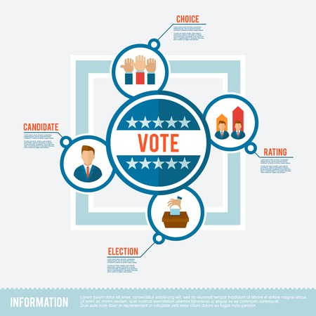 candidate: Election concept with voting choice candidate rating flat icons set vector illustration