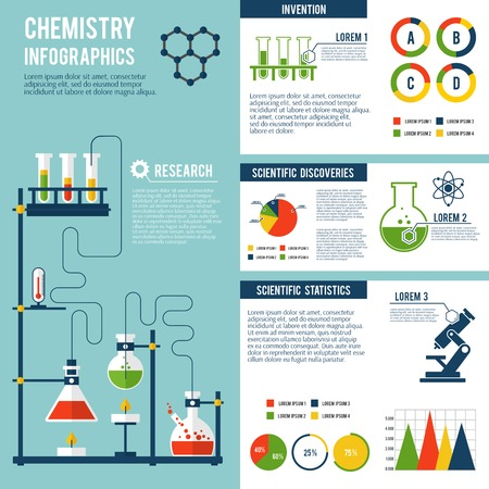 qu�mica: Qu�mica invenciones cient�ficas investigaci�n avanzada tecnolog�a y estad�sticas informe infograf�a presentaci�n con la estructura del �tomo ilustraci�n s�mbolo vector