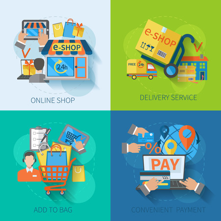 쇼핑 전자 상거래 개념 설계는 온라인 배달 서비스를 편리하게 지불 평면 아이콘 격리 된 벡터 일러스트 레이 션 설정