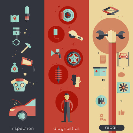 tire change: Auto service vertical banner set with inspection diagnostics repair elements isolated vector illustration