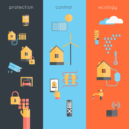 facility: Smart home vertical flat banner set with protection control ecology elements isolated vector illustration