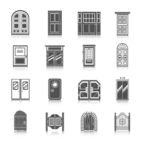 bank office: Front entrance door modern house room entrance and safe icons black set isolated vector illustration