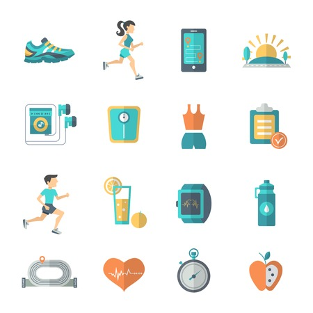 Jogging and fitness icons flat set with stopwatch apple bottle isolated vector illustration Vectores