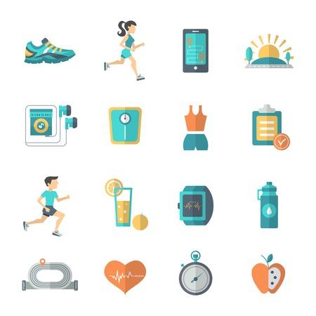 icono deportes: Jogging y de fitness iconos plana establecen con aislados botella manzana cron�metro ilustraci�n vectorial Vectores