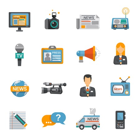 press news: Journalist icon flat set with camera microphone tv van isolated vector illustration Illustration