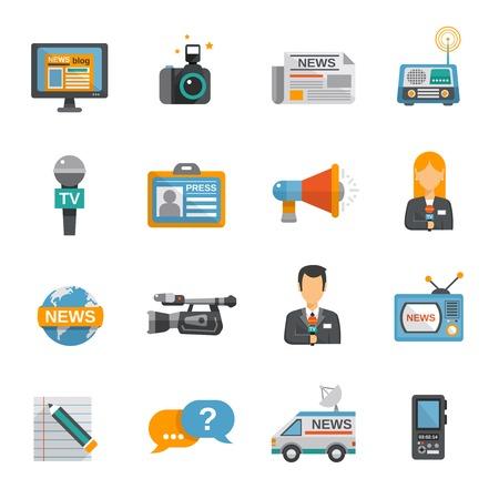 Journalist icon flat set with camera microphone tv van isolated vector illustration Illustration