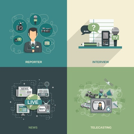 news van: Journalist design concept set with reporter interview news telecasting flat icons isolated vector illustration Illustration