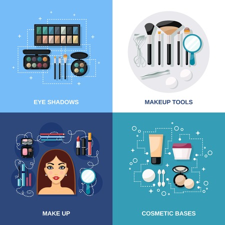 makeup brushes: Makeup design concept set with eye shadows cosmetic bases and tools flat icons isolated vector illustration