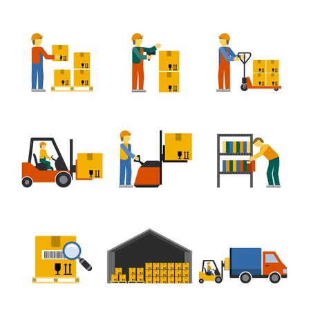 warehouse: Warehouse icon flat set with forklift cart service manager isolated vector illustration