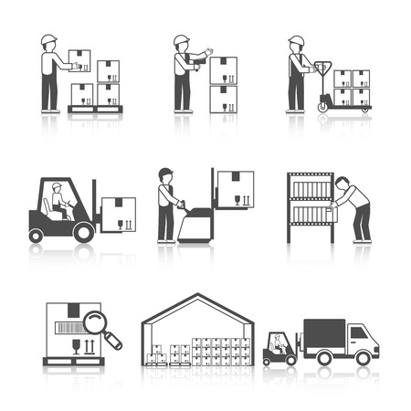 storage warehouse: Warehouse icon black set with transportation and delivery service stock workers isolated vector illustration