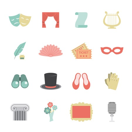 theatre performance: Drama opera theatre performance icon flat set with scene symbols isolated vector illustration
