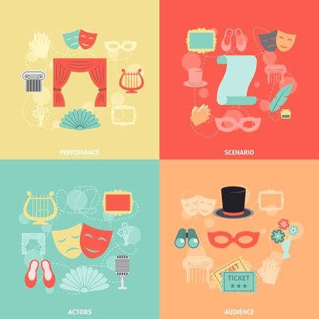 theatrical performance: Theatre design concept set with performance actors scenario audience flat icons isolated vector illustration