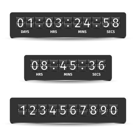 reloj: Pantalla anal�gica reloj temporizador de cuenta atr�s Indicador de tiempo mec�nica ilustraci�n vectorial negro Vectores