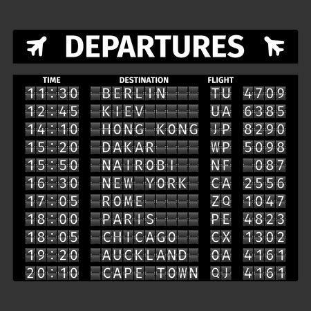 mechanical panel: Airport retro analog departure board timetable travel background vector illustration