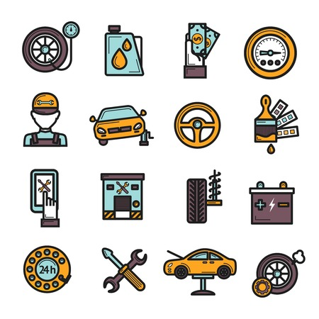 Auto dienst icon set met geïsoleerde band motor accu reparatie vector illustratie Stock Illustratie