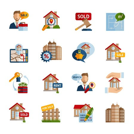 Real estate property rent and sale icons set isolated vector illustration Ilustrace