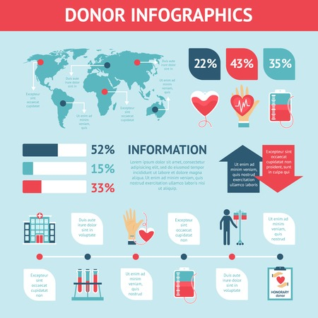 donate: Donor infographic set with blood donation symbols charts and world map vector illustration Illustration