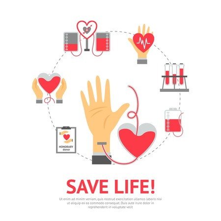 Donor flat concept with blood donation and transfusion process icons set vector illustration Vectores