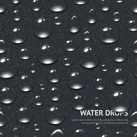 black textured background: Realistic water drops on black textured background seamless pattern vector illustration