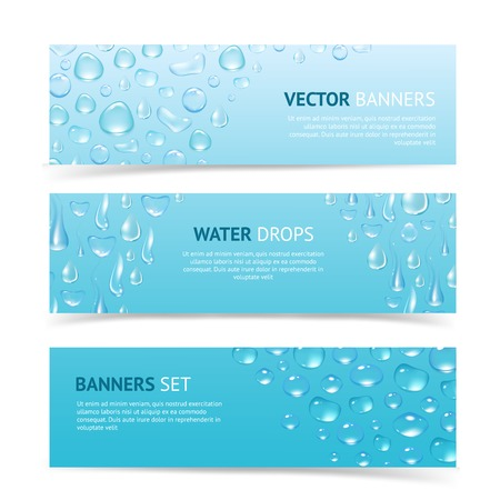 dew: Water drops cool aqua shiny dew banners set isolated vector illustration Illustration