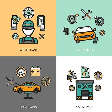 piezas coche: Servicio auto concepto de diseño conjunto con servicio de neumáticos mecánico de automóviles repuestos iconos planos aislados ilustración vectorial Vectores