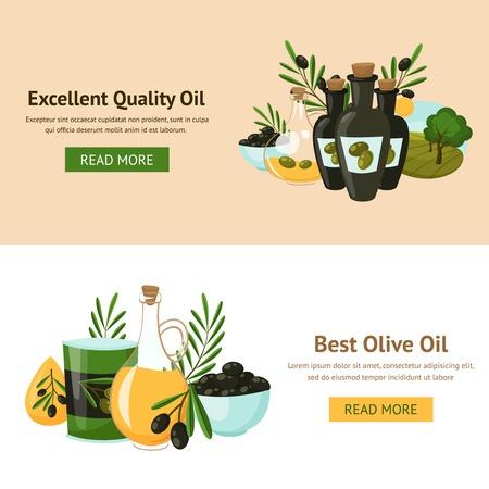aceite de cocina: Oliva concepto de diseño aceite establecen con botellas de vidrio y ramas de árboles aislados ilustración vectorial