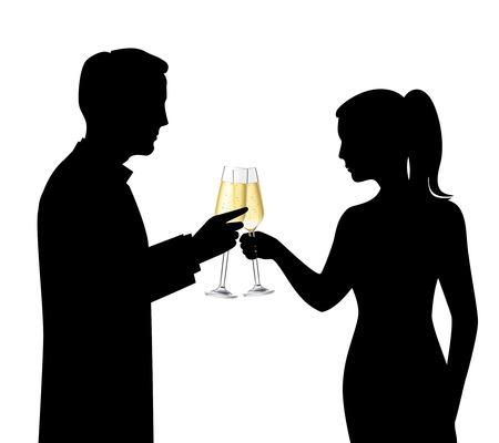 heterosexual: Pareja heterosexual siluetas negras bebiendo champ�n y hablando celebraci�n ilustraci�n vector de la escena Vectores