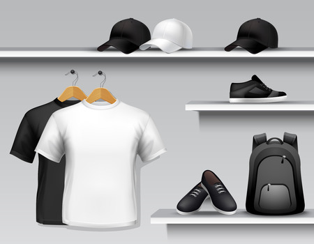 sport clothes: Sportswear store shelf with t-shirts bags caps and shoes vector illustration