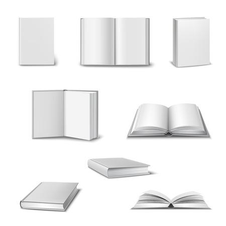 open book: Conjunto realista de libros abiertos y cerrados 3d con el espacio en blanco blanco cubierta aislada ilustraci�n vectorial